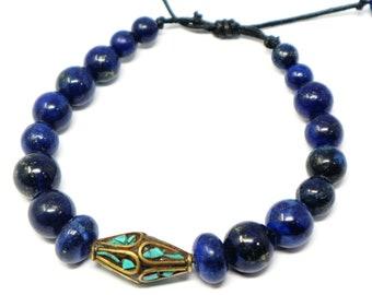 8154c204364b lapiz lazuli brazalete con auténtica artesanía tibetana con incrustación de  turquesas