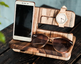 Docking stand,Walnut Docking stand,Charging station,Mens personalized,iPhone apple watch docking station,Glasses holder,Fathers day gift
