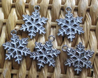 Large Snowflake Charms - Pack of Five