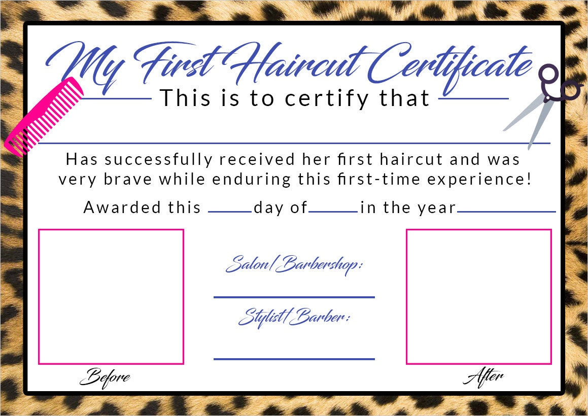 Girls First Haircut Certificate Baby First Haircut Photo Etsy