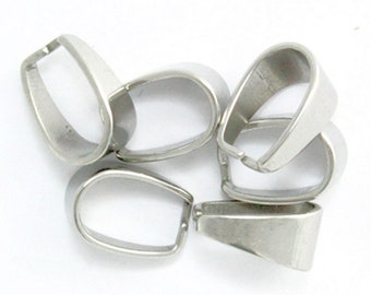 Pendant clasp etsy stainless steel silver tone hook pendant bail pinch clasps 133mm 24 pieces aloadofball Images