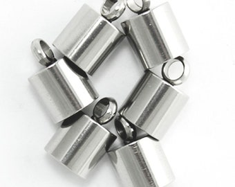 50pcs Sterling Silver Cord Ends Endcap End Caps Barrel for 2.5mm to 3mm Cord Beading Wire Jewelry Craft Making SS247