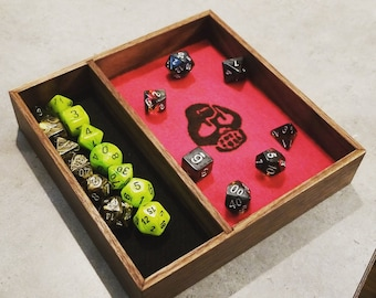 Wooden two section die tray with felt liner