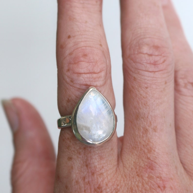Moonstone Thick Band Ring Size 8.25