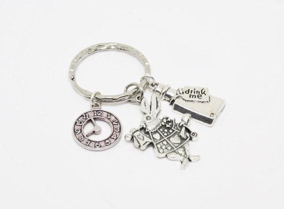 Alice in Wonderland Rabbit Keychain /& Keyring