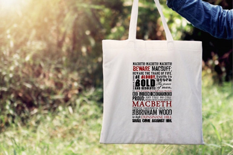 reusable ethical bag Macbeth word art canvas tote bag shakespeare quote Shakespeare Luxury tote bag book lover gift beach shopping bag