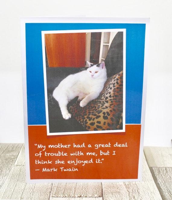 Mark Twain Cat Card Mothers Day Birthday Card Etsy