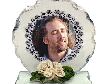 NicolasCage,  Photo Cut Glass Round Frame Plaque Special Occasion Limited Edition
