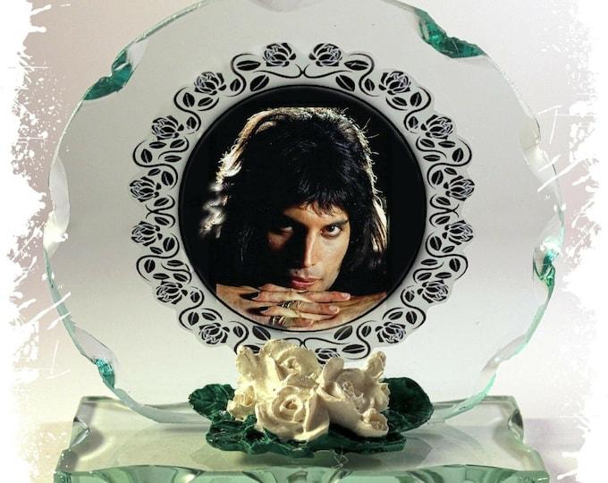 Featured listing image: Freddie Mercury, Queen, Dark Side, Photo Cut Glass Round Plaque  Ltd Edition