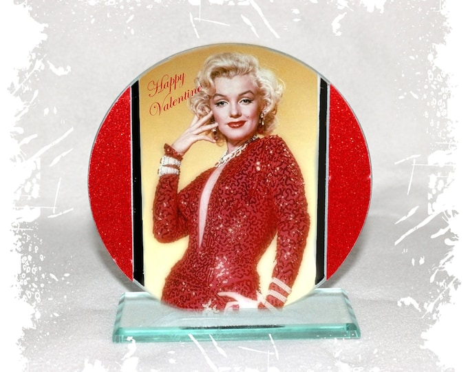 Featured listing image: Marilyn Monroe, Happy Valentine, Cut Glass Round Plaque Memorabilia Limited Edition