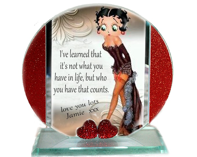 Featured listing image: Betty Boop, My Valentine, I've Learned That, Cut Glass Round Plaque Memorabilia Keepsake Limited Edition