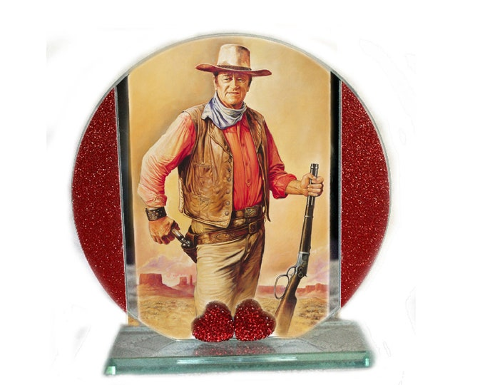 Featured listing image: John Wayne, Western Movies, Cut Glass Round Plaque Memorabilia Limited Edition