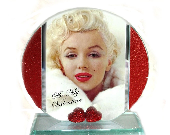 Featured listing image: Marilyn Monroe, Be My Valentine, Cut Glass Round Plaque Memorabilia Keepsake Limited Edition