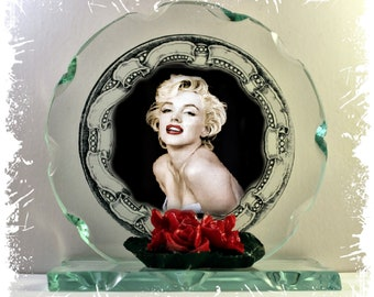 Marilyn Monroe Cut Glass Round Plaque Valentine Limited Edition  #4