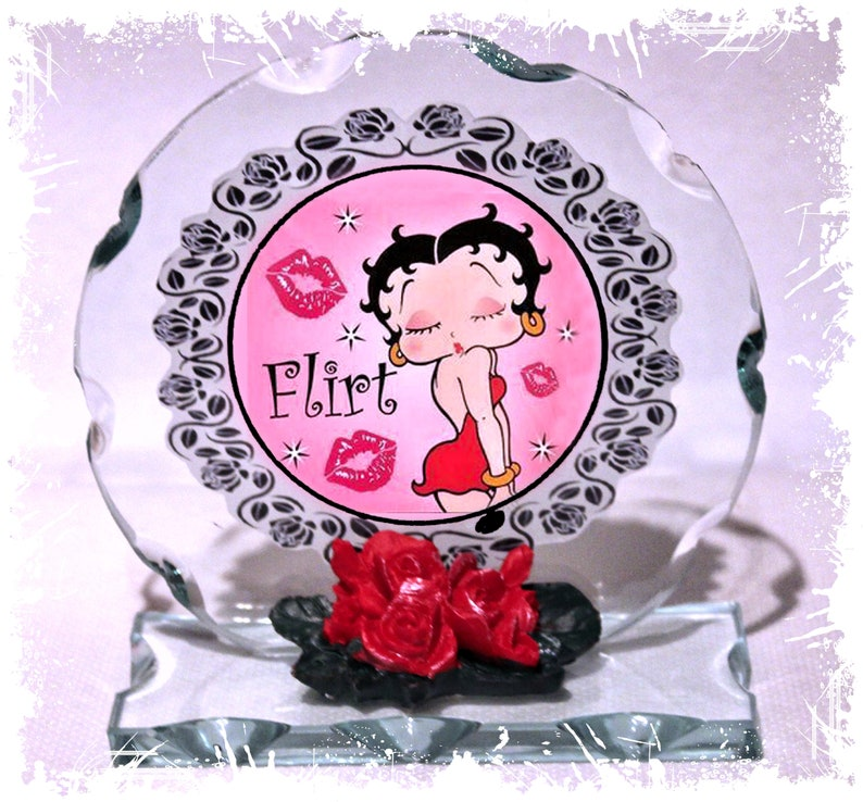 Betty Boop My Valentine Flirt Cut Glass Round Plaque image 0