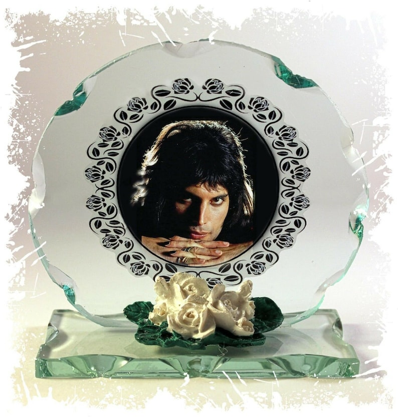 Freddie Mercury Queen Dark Side Photo Cut Glass Round image 0