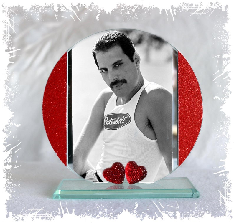 Freddie Mercury The Show Must Go On  Cut Glass Round Plaque image 0