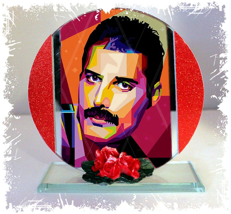 Freddie Mercury Queen Cubism Flash Cut Glass Round Plaque image 0