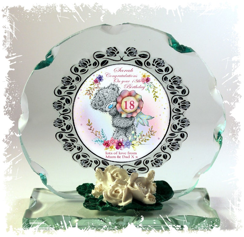 Happy Birthday 18th Teddy Design Cut Glass Round Plaque image 0