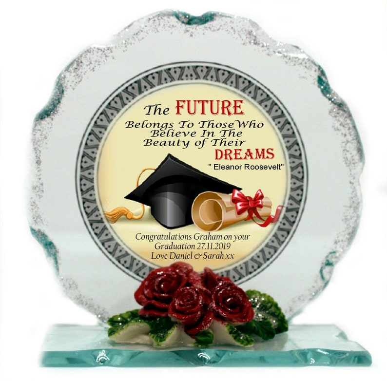 Graduation Cut Glass Plaque Gift Personalised gift him or her image 0
