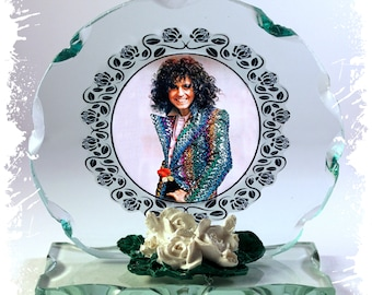Marc Bolan, T-Rex, I Love To Boogie, Cut Glass Round Frame Plaque Special Occasion Limited Edition