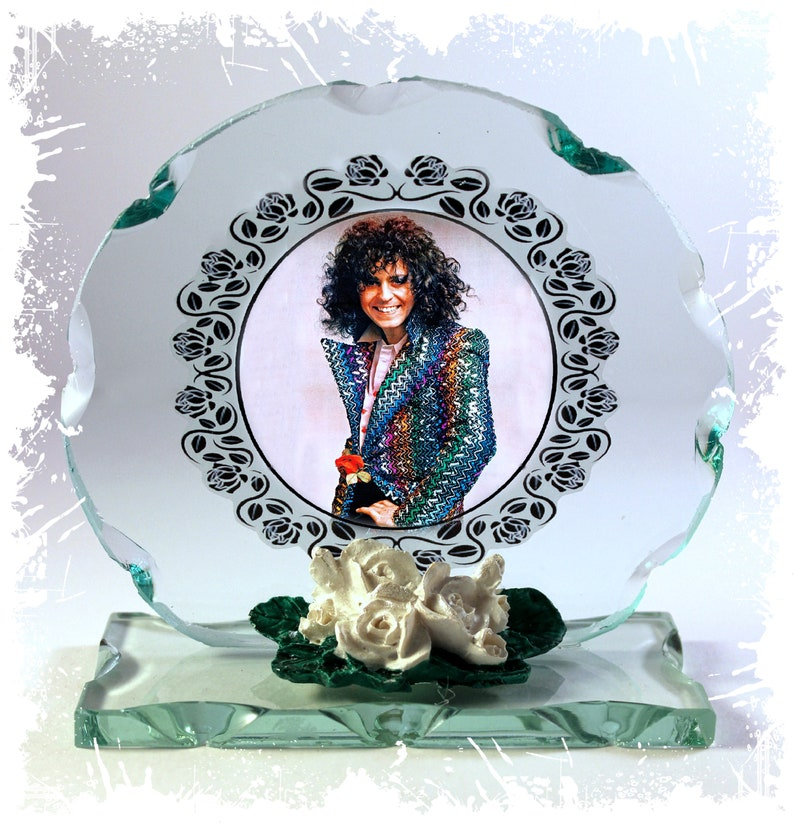 Marc Bolan T-Rex I Love To Boogie Cut Glass Round Frame image 0