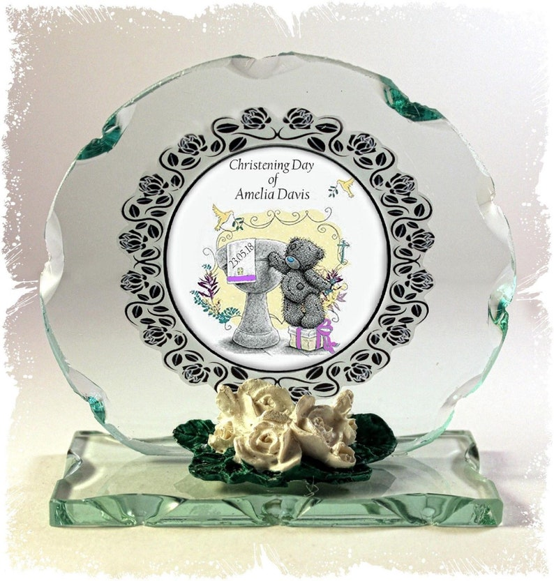 Baby Girl Christening Day Personalised Gift Cut Glass Plaque image 0
