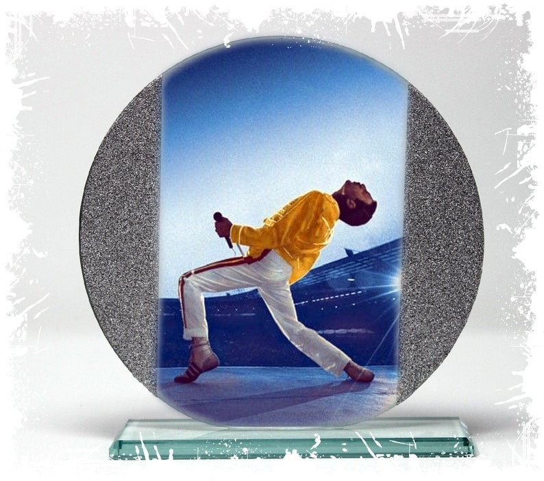 Freddie Mercury Show Must Go On  Cut Glass Round Plaque image 0