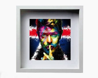 """David Bowie White Square Deep Shadow Box Frame Wooden finish   10.5"""" H x 10.5 W """"  Depth 2.5"""""""