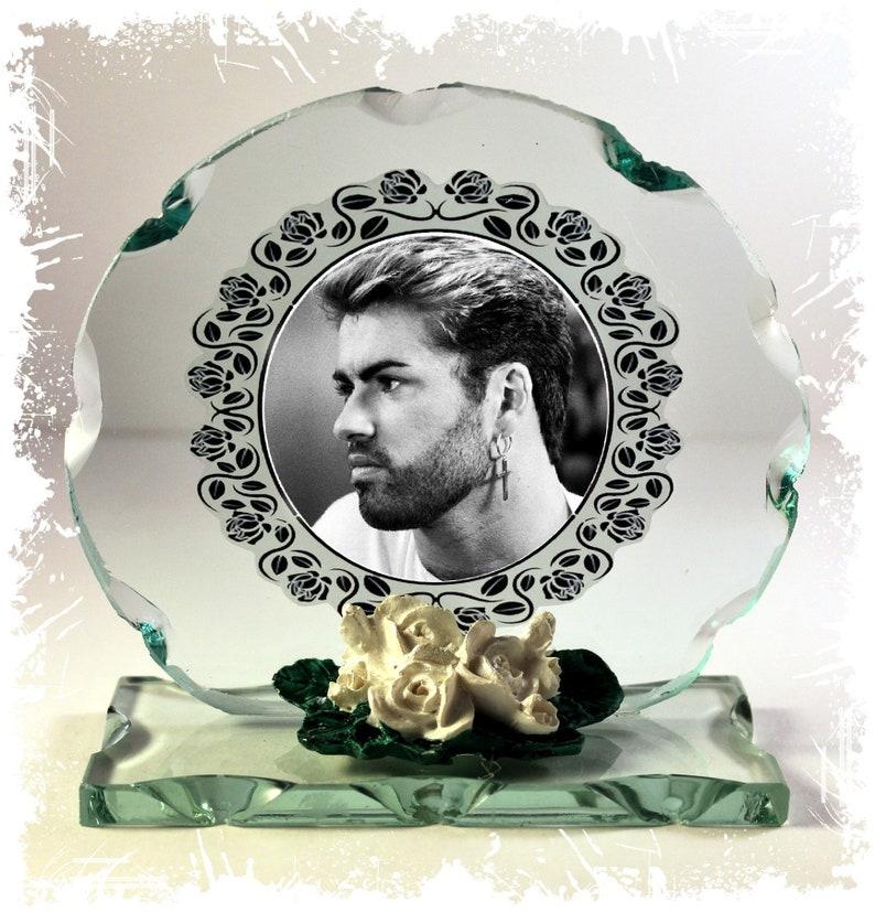 George Michael Black & White Photo Cut Glass Round Frame image 0