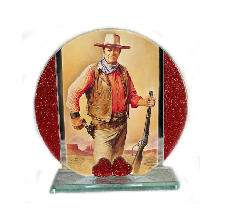 John Wayne Western Movies Cut Glass Round Plaque Memorabilia image 0