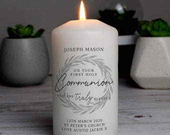 Personalised 'Truly Blessed' First Holy Communion Pillar Candle