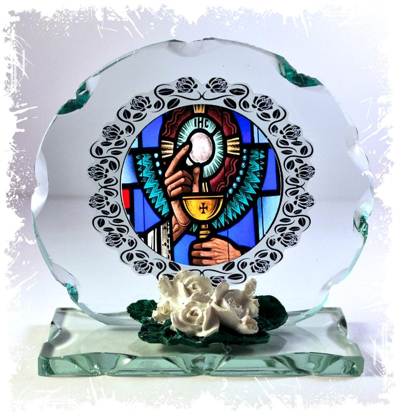 Custom Made Commemorative 1st Holy Communion Round Cut Glass image 0