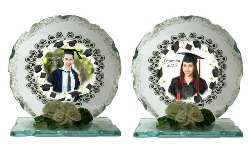 Graduation personalised gift Cut Glass glass Photo plaque with image 0