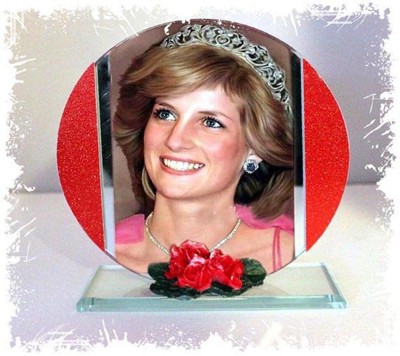 Princess Diana  English Rose Cut Glass Round Plaque image 0