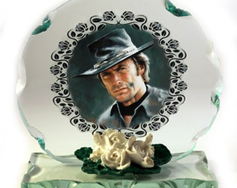 Clint Eastwood, Fist Full Of Dollars,  Hang Em High, Photo Cut Glass Round Frame Plaque,  Special Occasion Limited Edition