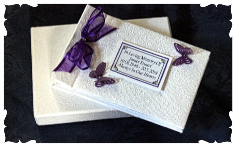 Personalised Remembrance guest Book with photo of loved one image 0