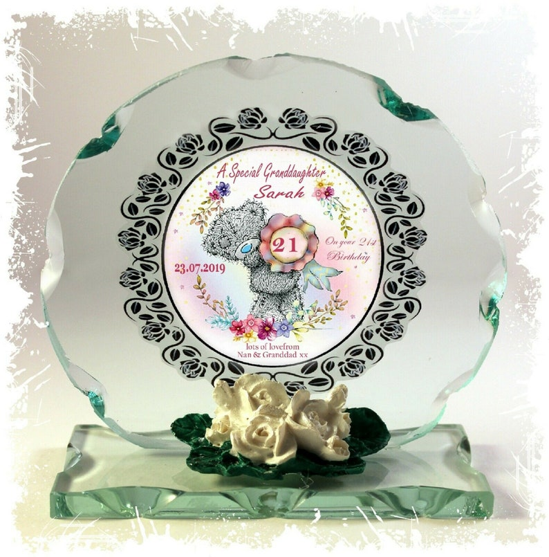 Granddaughter 21st Cute Teddy Design Cut Glass Round Plaque image 0