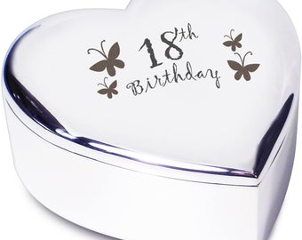 18th Birthday with Butterflies Silver Finish Heart Shaped Trinket Box Gift for Birthday