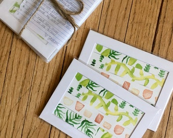 """Tame Jungle Mix 2: 5""""x7"""" Leafy Botanical Watercolor Matted Print"""