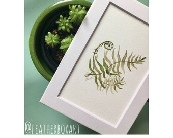"Frond: 7""x5"" Fern Fronds Botanical Watercolor Matted Print"