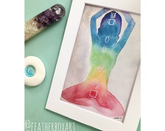 "7 Points: 7""x5"" 7 Chakra Rainbow Aura New Age Holistic Watercolor Matted Print"