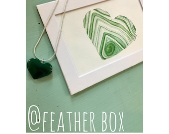 "Radiate: 5""x7"" Malachite Heart Crystalline Watercolor Matted Print"
