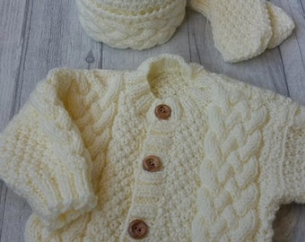 Traditional/Vintage/baby boys aran cardigan/baby boys aran set/cream aran cardigan/baby boys cream aran pompom hat/hand knitted/home made/