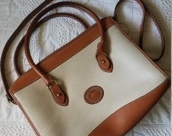 Vintage Dooney & Bourke Satchel Cross Body Beige Brown Leather Purse