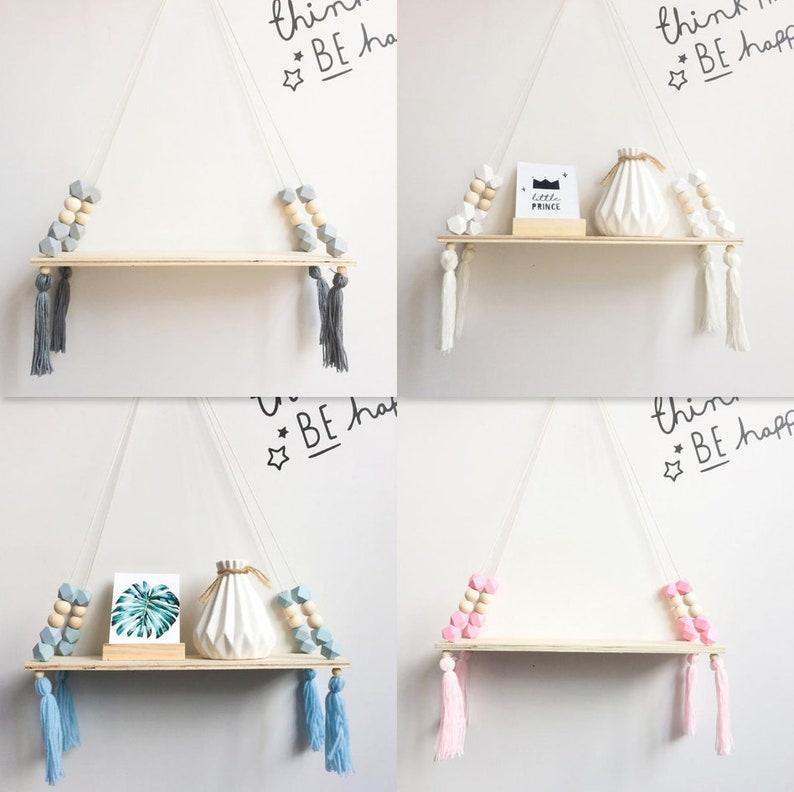 Wooden Tassel Swing ShelfNursery Decor
