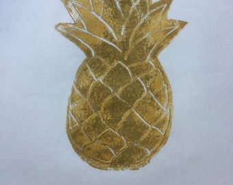 Handmade Pineapple Linoleum Block Print