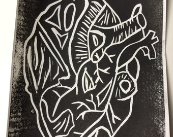 Handmade Human Heart Linoleum Block Print