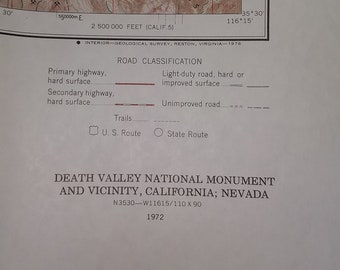 Vintage Topographic Map - Death Valley National Park 1972