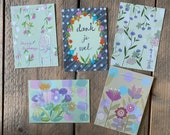 Set of 5 greeting cards: Flowers